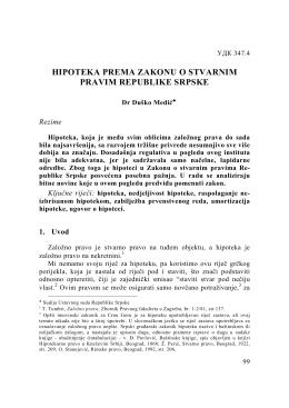 hipoteka prema zakonu o stvarnim pravima republike srpske