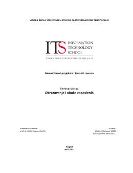 Obrazovanje i obuka zaposlenih - ITS-a