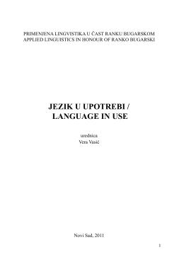 Primenjena lingvistika u čast Ranku Bugarskom