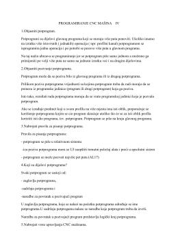 PROGRAMIRANJE CNC MAŠINA IV 1.Objasniti potprogram