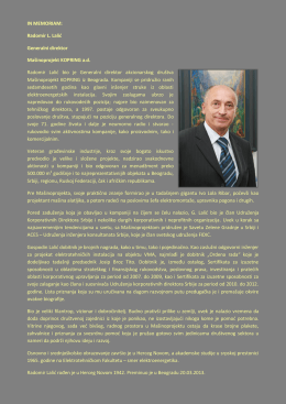 Radomir L. Lalić Generalni direktor Mašinoprojekt KOPRING ad