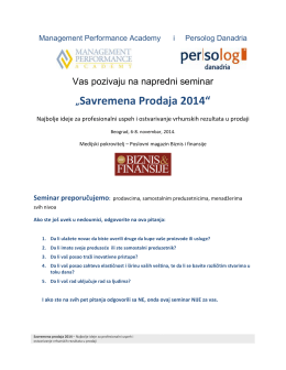 """Savremena Prodaja 2014"" - Management Performance Academy"