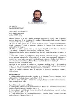 Dr. SAMIR BEGLEROVIĆ Ime i prezime SAMIR BEGLEROVIĆ E