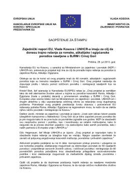 Zajednički napori EU, Vlade Kosova i UNHCR-a imaju za