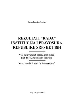 """""""RADA"""" INSTITUCIJA I PRAVOSUĐA REPUBLIKE"""