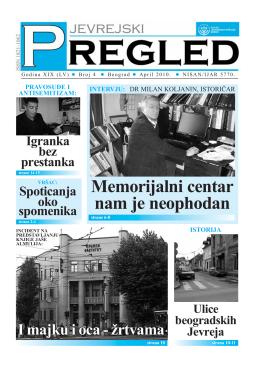 Jevrejski pregled br. 4 / april 2010