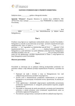 Ugovor o posredovanju u prometu nekretnina iFinance