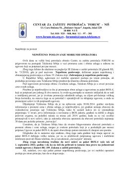 Neposteno poslovanje MOB operatora