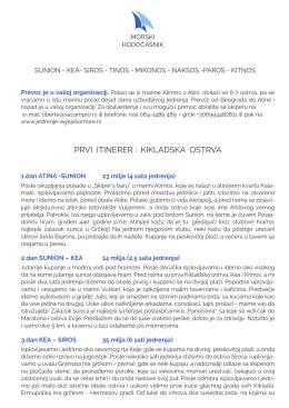PRVI ITINERER - KIKLADSKA OSTRVA