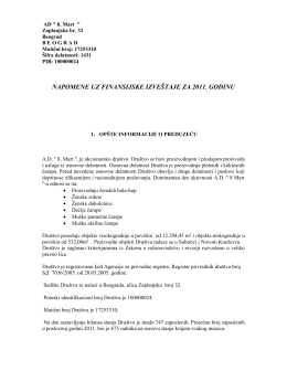 Napomene uz finansijski izveštaj za poslovnu 2011. godinu