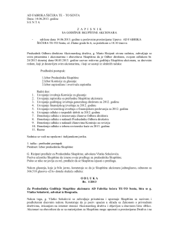 Zapisnik sa Godisnje Skupstine 2013.pdf - ad fabrika šećera te