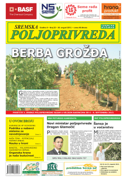 Sremska poljoprivreda broj 22 30. avgust 2013.