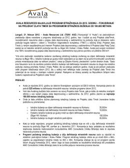avala resources najavljuje program istraživanja za 2012. godinu