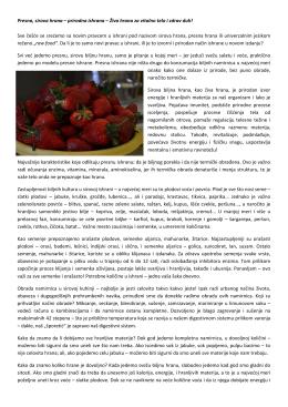 Presna, sirova hrana – prirodna ishrana – Živa hrana za vitalno telo i