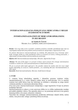 internacionalizacija poslovanja mercatora u regiji jugoistočne evrope