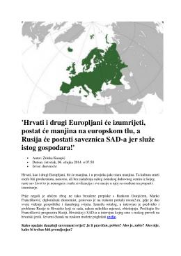 `Hrvati i drugi Europljani će izumrijeti, postat će manjina na