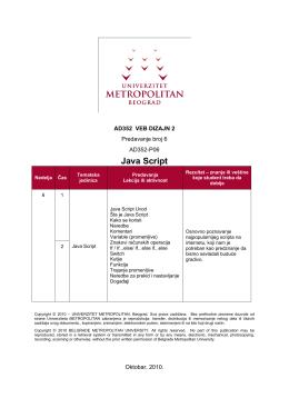 Java Script - Univerzitet Metropolitan