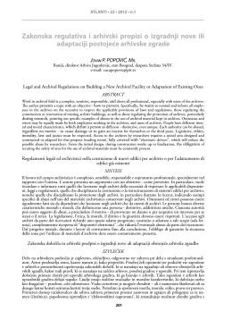 Zakonska regulativa i arhivski propisi o izgradnji nove ili