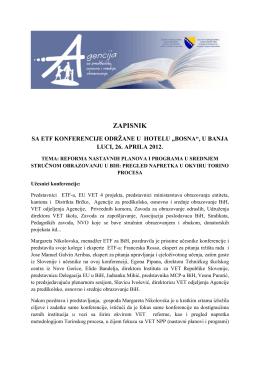 Zapisnik sa konferencije.pdf - Odjel za srednje stručno obrazovanje