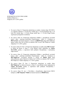 Bilten br.1 - 2015 - Rukometni Savez Crne Gore