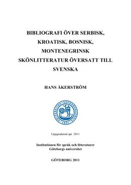 Bibliografi över bosnisk, kroatisk, montenegrinsk och