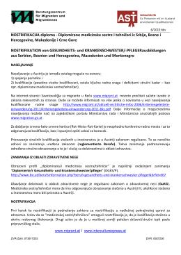 NOSTRIFIKACIJA diploma - Diplomirane medicinske sestre i