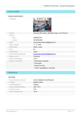 lakodoposla.com CV snezana stanisavljevic
