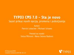 TYPO3 CMS 7.0 - Sta je novo - Sazet prikaz novih