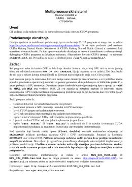 Multiprocesorski sistemi Uvod Podešavanje okruženja Zadaci