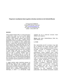 Kaluđerović D. Mogućnosti revitalizacije izdani zagađene nitratima