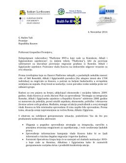 6. Novembar 2014 G. Hašim Tači Premijer