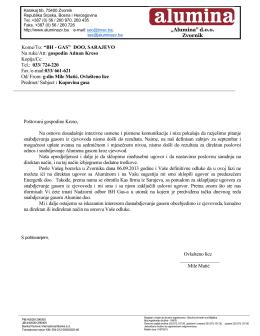 Kupovina gasa, dopis BH gasa - Kompanija Alumina doo Zvornik