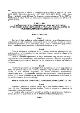 Pravilnik o načinu i postupku ostvarivanja prava na privremenu