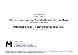 Basisinformationen zum Aufenthaltsrecht für Flüchtlinge Osnovne