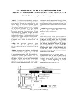 Sistem bezbednosti informacija - iskustva i preporuke