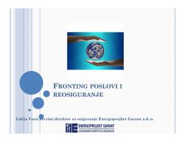 FRONTING POSLOVI I REOSIGURANJE