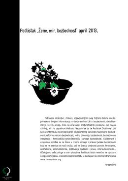 "Podlistak ""Zene,mir,bezbednost"" april 2013."