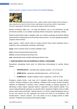 Osnovni principi i program zdrave ishrane Prof.dr