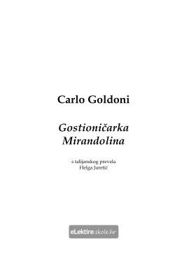 Carlo Goldoni Gostioničarka Mirandolina