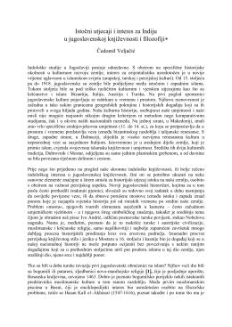 Istočni utjecaji i interes za Indiju u jugoslavenskoj