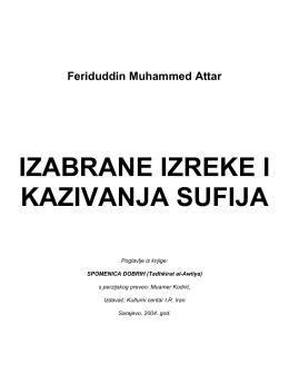 IZABRANE IZREKE I KAZIVANJA SUFIJA - BOSNA MUSLIM