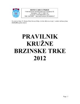 PRAVILNIK KRUŽNE BRZINSKE TRKE 2012