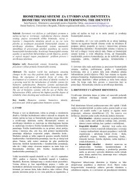 8.1. Biometrijski sistemi za utvrđivanje identiteta