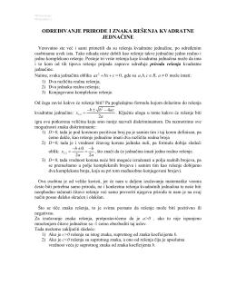 određivanje prirode i znaka rešenja kvadratne jednačine