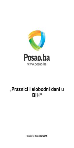 """""""Praznici i slobodni dani u BiH"""""""