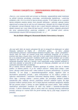poruke i zaključci sa 1. međunarodnog simpozija 2013