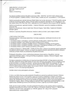 Zapisnik sa redovne sednice Skupštine akcionara za 2014. godinu