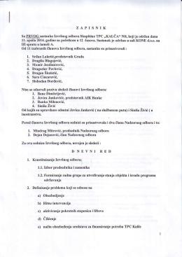 ZAPISNIK Sa EByQqsastanka lzvrinog odbora Skupstine TPC