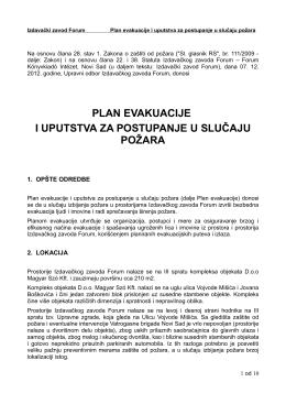 plan evakuacije i uputstva za postupanje u slučaju požara