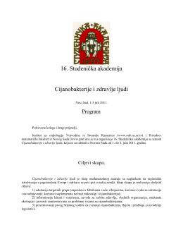 16. Studenička akademija Cijanobakterije i zdravlje ljudi